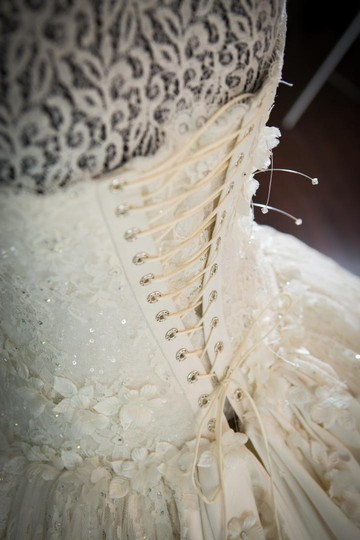 Ivory Chantilly Lace and Silk 1404 Traditional Wedding Dress Size 8 (M) Image 1