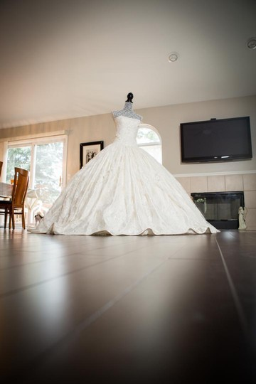 Ivory Chantilly Lace and Silk 1404 Traditional Wedding Dress Size 8 (M) Image 4