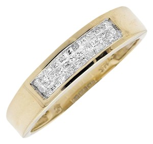 Jewelry Unlimited Three Rows Princess Genuine Diamond Wedding Ring Band 0.25ct