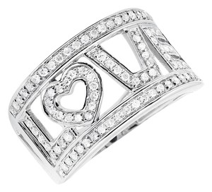 Jewelry Unlimited 10K White Gold LOVE Spell Words Initials Diamond Band Ring 0.75ct.
