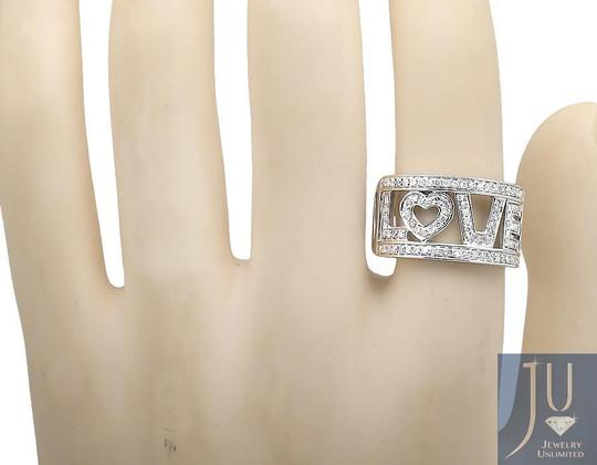 Jewelry Unlimited 10K White Gold LOVE Spell Words Initials Diamond Band Ring 0.75ct. Image 1