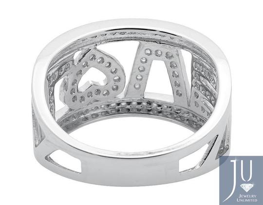 Jewelry Unlimited 10K White Gold LOVE Spell Words Initials Diamond Band Ring 0.75ct. Image 2