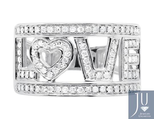 Jewelry Unlimited 10K White Gold LOVE Spell Words Initials Diamond Band Ring 0.75ct. Image 3