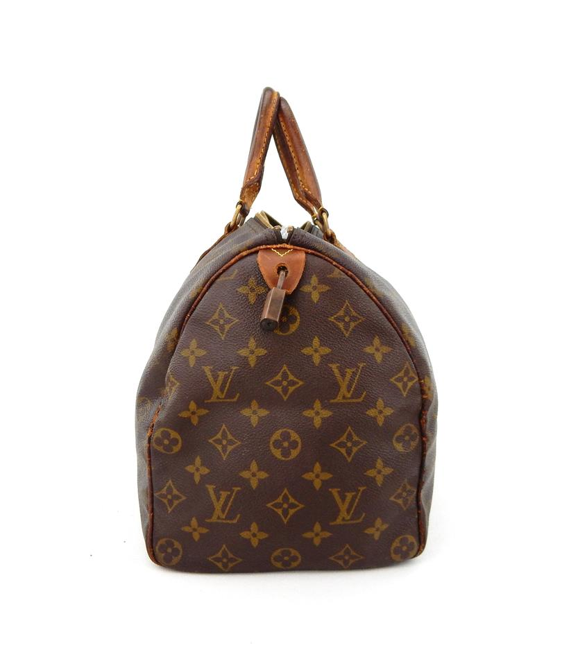 louis vuitton speedy 35 monogram canvas leather handbag france brown tote bag totes on sale. Black Bedroom Furniture Sets. Home Design Ideas