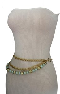 Alwaystyle4you Women Fashion Belt Hip Waist Chunky Gold Metal Chains Big Blue Balls