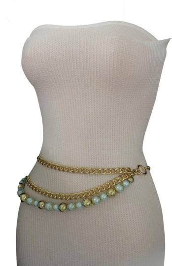 Alwaystyle4you Women Fashion Belt Hip Waist Chunky Gold Metal Chains Big Blue Balls Image 0