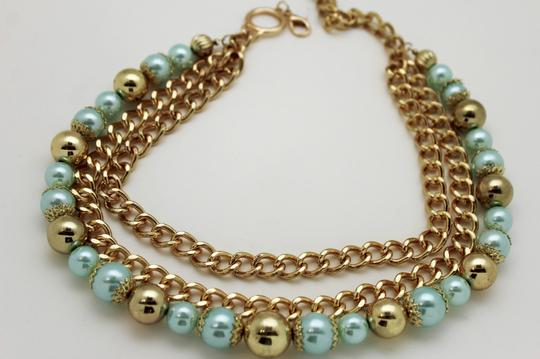Alwaystyle4you Women Fashion Belt Hip Waist Chunky Gold Metal Chains Big Blue Balls Image 1