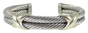 David Yurman David Yurman Sterling Silver 14K Yellow Gold 2-Row XX Bracelet