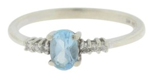Other Antique Oval Aquamarine Diamond Ring in 10k White Gold