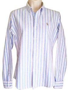 Ralph Lauren Cotton Pink Blue White Button Down Shirt Like NEW Slim Fit Chambray Pastel Stripe