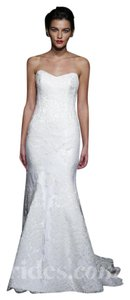 Anna Maier Couture White 60% Cotton 25% Rayon 15% Lace. (Ulla 'lea' Strapless Gown Feminine Wedding Dress Size 2 (XS)