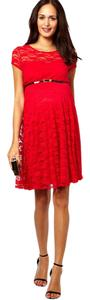 ASOS Red Lace Skater Dress with Belt