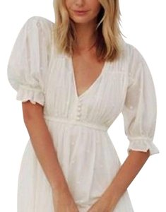 Mes Demoiselles Dotted Pleated Banded Boho Festival Classic Chic Gauzy Swingy Ruffle Effortless Top White