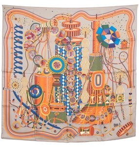 Hermès Hermes grey & multi-color 'Le Laboratoire Du Temps' motif silk scarf
