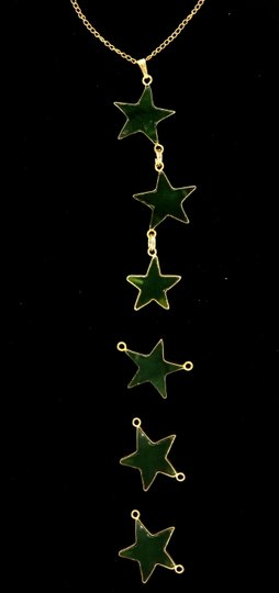 Green Custom Made Star Made Of Real Jade On Yellow Chain Necklace Image 1