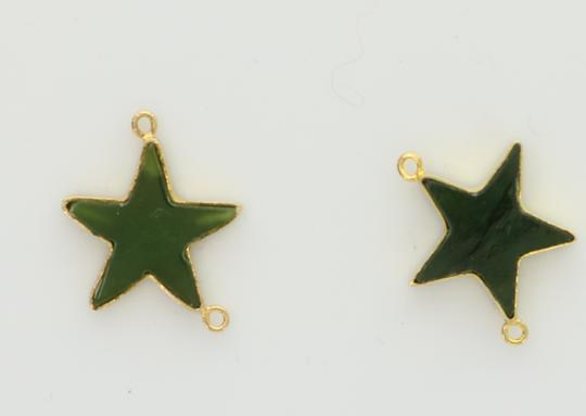 Green Custom Made Star Made Of Real Jade On Yellow Chain Necklace Image 2