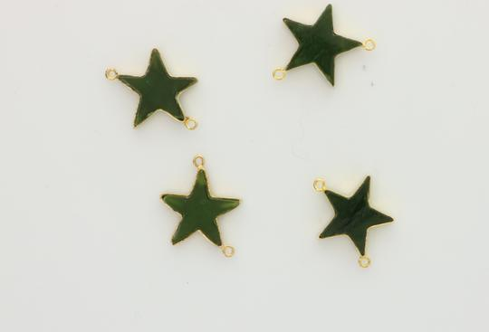 Green Custom Made Star Made Of Real Jade On Yellow Chain Necklace Image 3