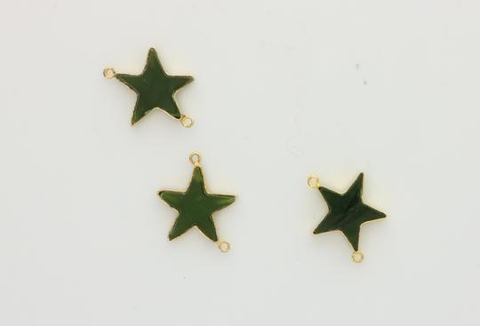 Green Custom Made Star Made Of Real Jade On Yellow Chain Necklace Image 4