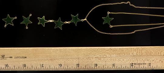 Green Custom Made Star Made Of Real Jade On Yellow Chain Necklace Image 6