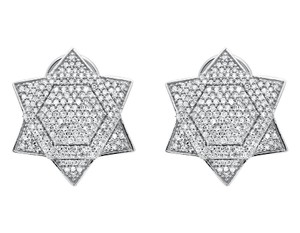 Other Dome Six Point Star Or Star of David Diamond Stud Earrings 1.25ct
