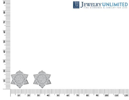 Other Dome Six Point Star Or Star of David Diamond Stud Earrings 1.25ct Image 1