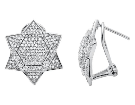Other Dome Six Point Star Or Star of David Diamond Stud Earrings 1.25ct Image 2
