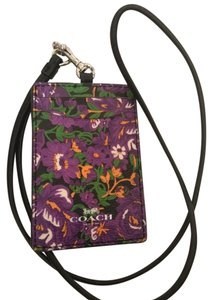 Coach NEW COACH floral Card Case employee I.D Tag holder Lanyard Badge