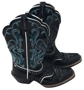Ariat black with turquoise and white accents Boots