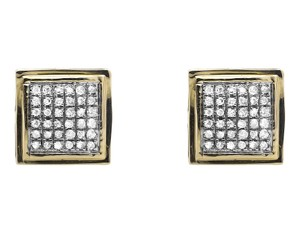 Other 10K Yellow Gold Curved Puff Square Kite Diamond Stud Earrings .25Ct