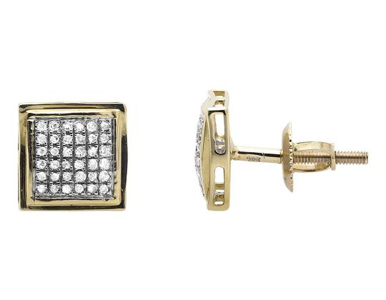 Other 10K Yellow Gold Curved Puff Square Kite Diamond Stud Earrings .25Ct Image 1