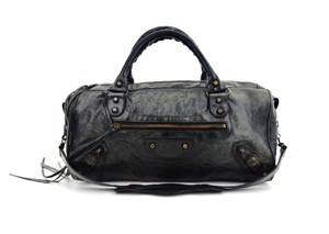 Balenciaga Part Time Motorcycle Classic Leather 2-way Satchel in Grey