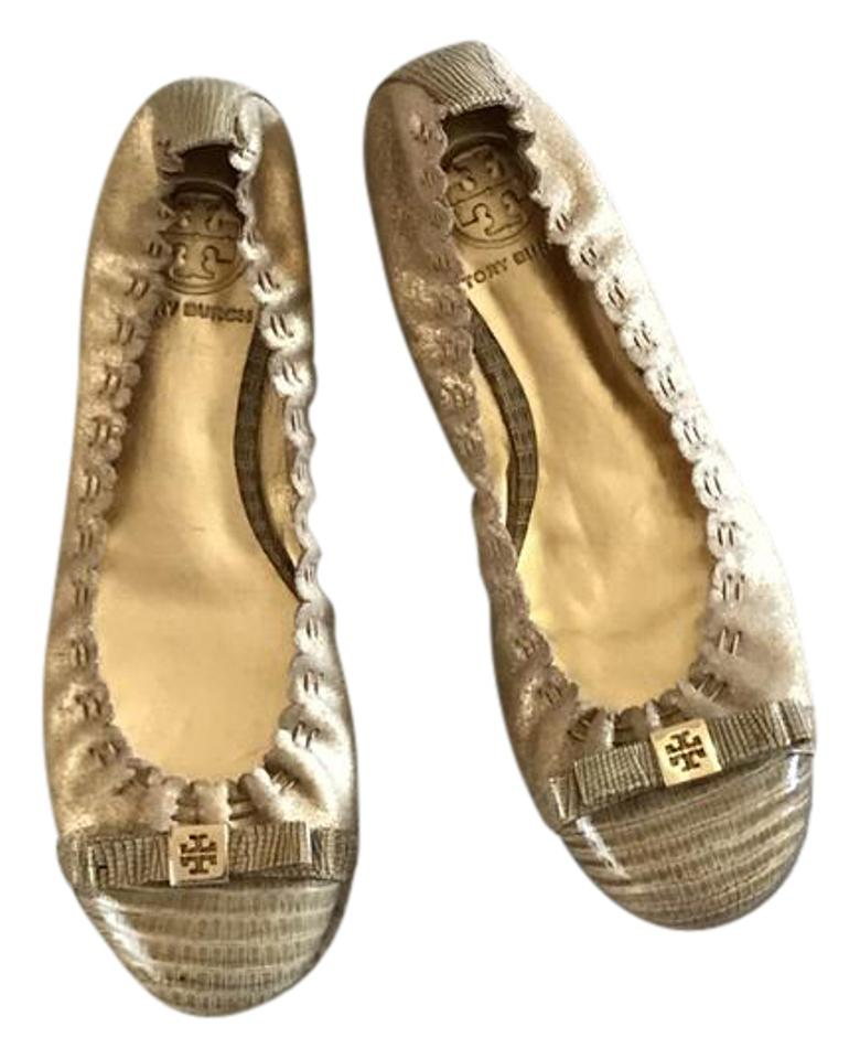 Tory Burch Gold Gold Gold New Metalic W/Leather Toe Bow. Flats a099ab