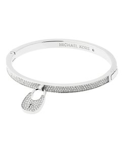 Michael Kors NWT Heritage Silver -Tone and Crystal Hinged Bangle MKJ5972040