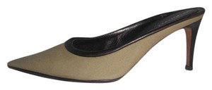 Sergio Rossi Canvas/leather Pumps Khaki Green/Brown Mules