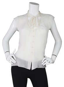 Chanel Sheer Silk Neck Tie Top Ivory