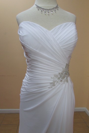 Alfred Angelo White/Silver Chiffon 2514 Formal Wedding Dress Size 12 (L)