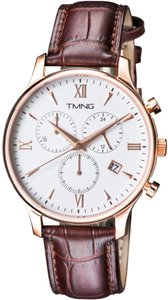TMNG TMNG Men's TM1002NG Rose Gold Stainless Steel White Dial Watch