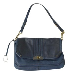 B. Makowsky Chain Turnlock Navy B Glove Leather Shoulder Bag