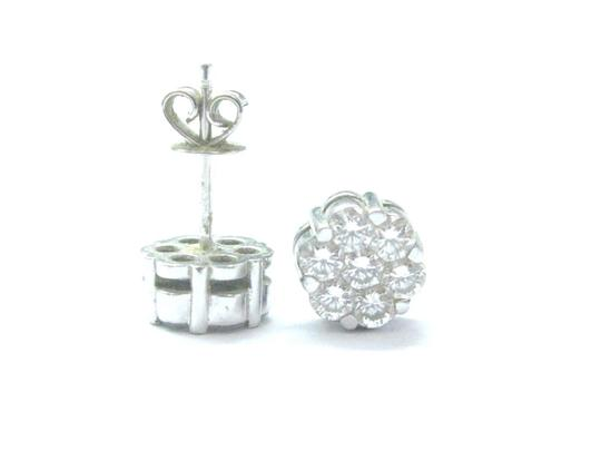 Other 18Kt Round Cut Diamond Cluster Stud Earrings White Gold 1.12Ct 7.6mm Image 2