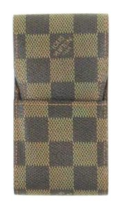 Louis Vuitton Cigarette Pouch Accessory Case Damier Canvas Leather