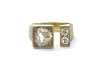 Other 18Kt Vintage Rose Cut Diamond Yellow Gold 3-Stone Ring .70Ct