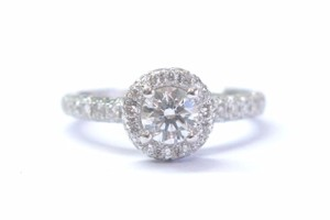 Other Fine Round Brilliant Cut Diamond Bezel Set Pave Engagement Ring 1.05Ct
