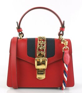 9143f5172c38 Gucci Top Handle Sylvie Mini Red Leather Shoulder Bag - Tradesy