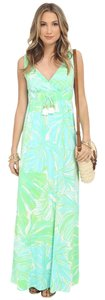 Green, Blue, White Maxi Dress by Lilly Pulitzer Pretty Island Floral Flowy Maxi