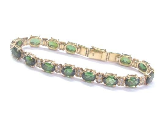 Other 18KT Green Tourmaline Diamond Yellow Gold Tennis Bracelet 6.25