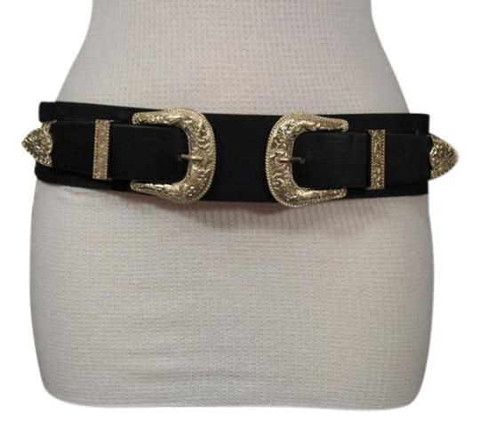 Alwaystyle4you Women Western Double Gold Buckles Fashion Black Belt Elastic Hip Waist Image 0