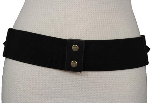 Alwaystyle4you Women Western Double Gold Buckles Fashion Black Belt Elastic Hip Waist Image 4