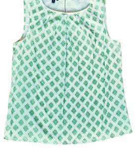 Talbots Top white and green