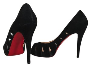 Christian Louboutin Peep Toe Cut-out Suede Black Pumps