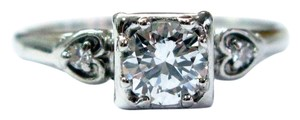 Other 18Kt Vintage Round Diamond Engagement Jewelry Ring WG .59CT F-VVS1